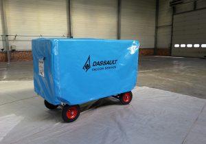 Housses de protection, housse de chariot logistique spécifique avec rabat latéral amovible
